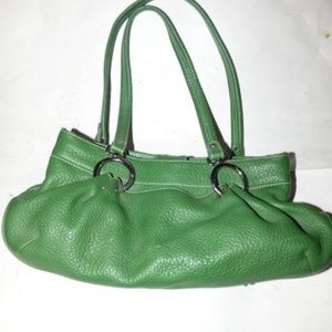 Designer Kelly Green Leather Shoulder Bag